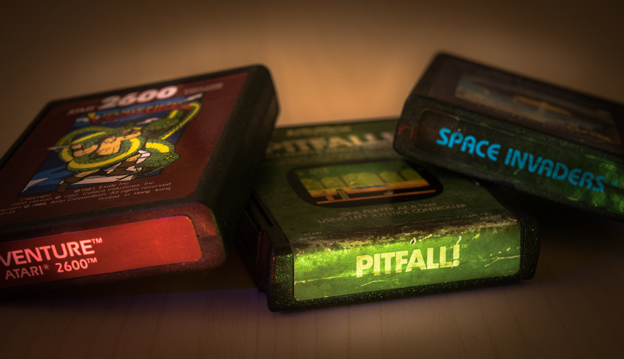 Atari 2600 games: Venture, Pitfall and Space Invaders