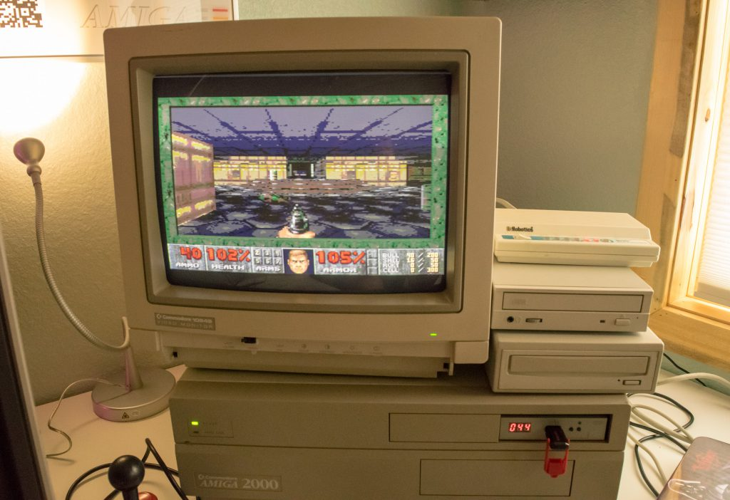 Amiga A2000 playing Doom