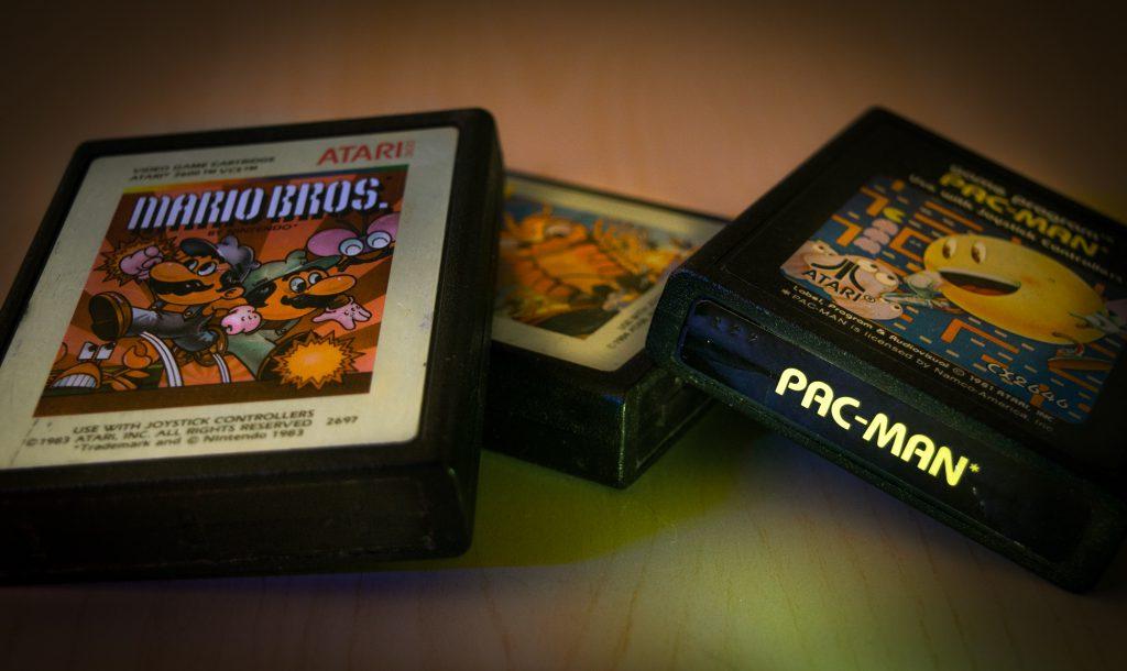 Atari 2600 games: Mario Bros, Millipede and Pac Man