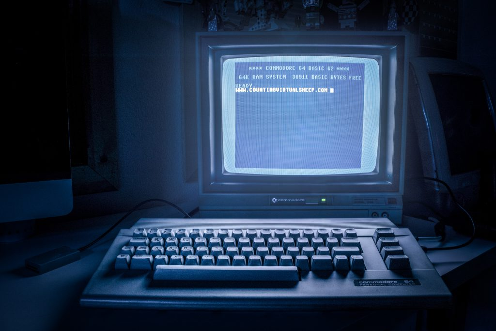 Phosphorus glow of a Commodore 1701 monitor attached to a C64