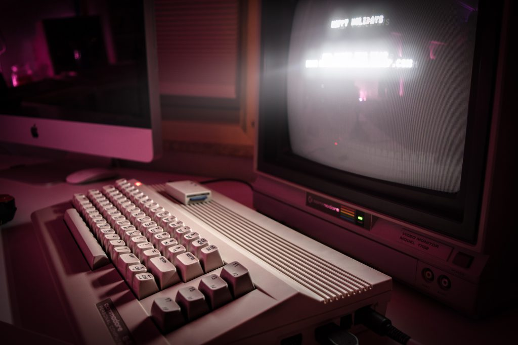 Warm CRT glow and a Commodore 64c